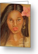 Dark Hair Pastels Greeting Cards - Exotic Beauties Greeting Card by Sandra Valentini