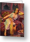 Orientalist Greeting Cards - Exotic  Beauty Greeting Card by Pg Reproductions