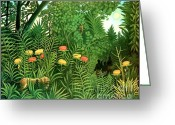 Storm Prints Painting Greeting Cards - Exotic Landscape by Henri Rousseau Greeting Card by Pg Reproductions