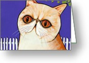 Whiskers Greeting Cards - Exotic Greeting Card by Leanne Wilkes