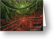 Business Decor Greeting Cards - Exotic Paradise Abstract Greeting Card by Zeana Romanovna