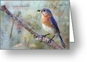  Bluebird Greeting Cards - Expect Miracles Greeting Card by Bonnie Barry