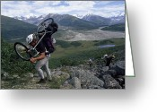 Hikers And Hiking Photo Greeting Cards - Expedition Member Carries His Bike Greeting Card by Bill Hatcher