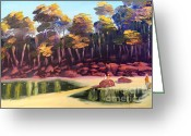 Trees Ceramics Greeting Cards - Exploring on Echo Beach Greeting Card by Pamela  Meredith
