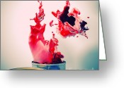 Pouring Greeting Cards - Explosion Of Colour Greeting Card by Gualtiero Boffi