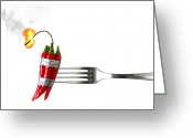 Chili Greeting Cards - Explosive Food Greeting Card by Carlos Caetano