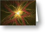 Fractalius Art Greeting Cards - Explosive New Star Greeting Card by Deborah Benoit