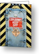 Portal Greeting Cards - Explosives Door Keep Out Greeting Card by adSpice Studios