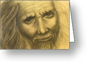 Wise Man Greeting Cards - Expression Of An Elder Greeting Card by Linda Kemp