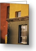 Telephoto Greeting Cards - Exterior Of A Brightly Painted Building Greeting Card by Gina Martin