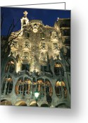 Cornet Greeting Cards - Exterior View Of An Antoni Gaudi Greeting Card by Richard Nowitz