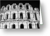 African Heritage Photo Greeting Cards - External View Of Three Upper Tiers Of Archways Of Old Roman Colloseum El Jem Tunisia Greeting Card by Joe Fox