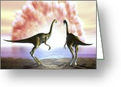 Dinosaurs Greeting Cards - Extinction Of The Dinosaurs, Artwork Greeting Card by Jose Antonio PeÑas