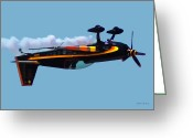 Balloon Fest Greeting Cards - Extra 300S Stunt Plane Greeting Card by DigiArt Diaries by Vicky Browning