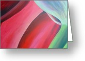 Red Abstract Greeting Cards - Extrait Greeting Card by Muriel Dolemieux