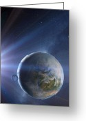 Extrasolar Planet Greeting Cards - Extrasolar Earth-like Planet, Artwork Greeting Card by Detlev Van Ravenswaay