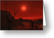 Red Dwarfs Greeting Cards - Extrasolar Planet Gliese 581 G Orbiting Greeting Card by Andrew Taylor