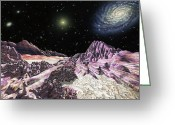 Exploration Drawings Greeting Cards - Extrasolar planet in Virgo cluster Greeting Card by Lynette Cook