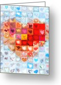 Grid Of Heart Photos Digital Art Greeting Cards - Extreme Makeover Home Edition Katrinas Heart Two Greeting Card by Boy Sees Hearts