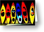 White Water Rafting Print Greeting Cards - Extreme Water Colors Greeting Card by Joe JAKE Pratt