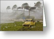 Key West Island Greeting Cards - Extreme Winds And Seaweed-filled Storm Greeting Card by Mike Theiss