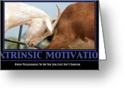Joke Greeting Cards - Extrinsic Motivation De-Motivational Poster Greeting Card by Lisa Knechtel