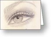 Graphite Greeting Cards - Eye Close up Greeting Card by Jose Valeriano