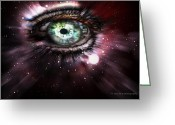 Ym_art Greeting Cards - Eye from the Stars Greeting Card by Yvon -aka- Yanieck  Mariani
