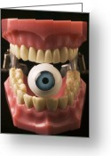 Sight Greeting Cards - Eye held by teeth Greeting Card by Garry Gay