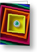 Shapes Greeting Cards - Eye In The Box Greeting Card by Garry Gay
