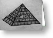 Pyramid Drawings Greeting Cards - Eye in the Pyramid Greeting Card by Madelyn May