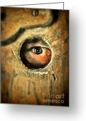 Watchful Eye Greeting Cards - Eye Looking Through Peep Hole Greeting Card by Jill Battaglia