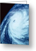 Storm Cloud Greeting Cards - Eye Of A Storm Over Earth Viewed From Space Greeting Card by Stockbyte