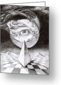 Otto Rapp Drawings Greeting Cards - Eye Of The Dark Star Greeting Card by Otto Rapp