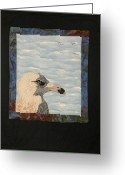 Motion Tapestries - Textiles Greeting Cards - Eye Of The Gull Greeting Card by Jenny Williams