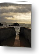 Sea Wall Greeting Cards - Eye Of The Storm Greeting Card by Donna Blackhall