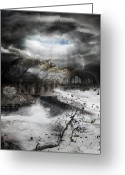 Flood Greeting Cards - Eye of the Storm Greeting Card by Karen Koski