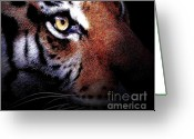 Cat Profile Greeting Cards - Eye of the Tiger Greeting Card by Wingsdomain Art and Photography