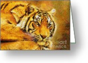Wall Art Mixed Media Greeting Cards - Eye Of The Tiger Greeting Card by Zeana Romanovna