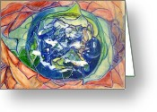 Symbolic Pastels Greeting Cards - Eye of the Universe Greeting Card by Patricia High