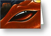 Volcano Greeting Cards - Eye Of The Volcano Dragon Greeting Card by Elaina  Wagner