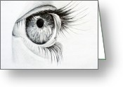 Graphite Drawings Greeting Cards - Eye study Greeting Card by Eleonora Perlic