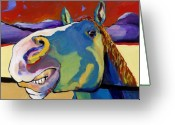 Horse Greeting Cards Painting Greeting Cards - Eye To Eye Greeting Card by Pat Saunders-White            
