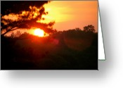 Shining Sun Kiss Mountains Greeting Cards - Eye To Eye Sunset Greeting Card by Debra     Vatalaro