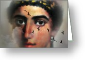 Mostafa Moftah Greeting Cards - Eyes from the Past Greeting Card by Mostafa Moftah