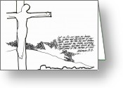 Devotional Art Drawings Greeting Cards - Eyes on the Cross Greeting Card by Rich Brumfield