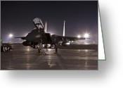 Jet Greeting Cards - F-15E as a Rock Star Greeting Card by Tim Grams