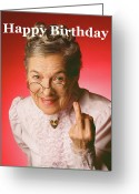 Older Woman Photo Greeting Cards - F... Off Greeting Card by Stan Fellerman