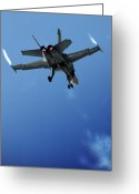 Superhornet Greeting Cards - F18 Greeting Card by Angel  Tarantella