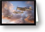 Military Artwork Greeting Cards - F4-U Corsair Greeting Card by Larry McManus